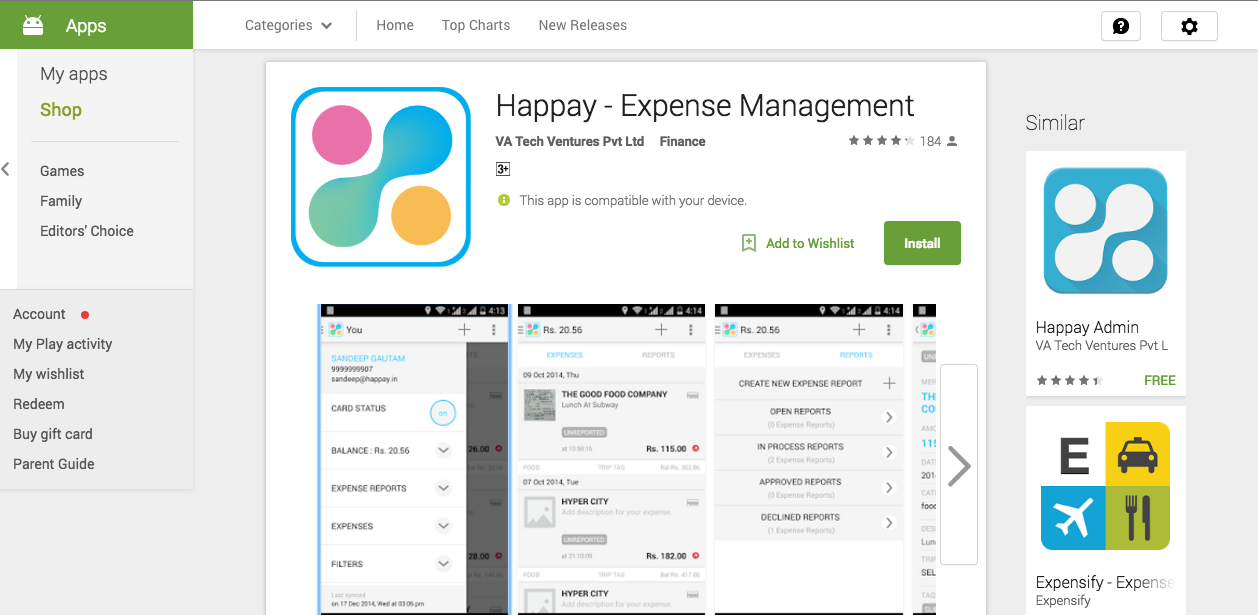 Happay Android Phone App